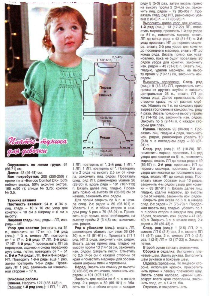 связанный спицами теплый сарафан на девочку 4-5 лет, описание 1