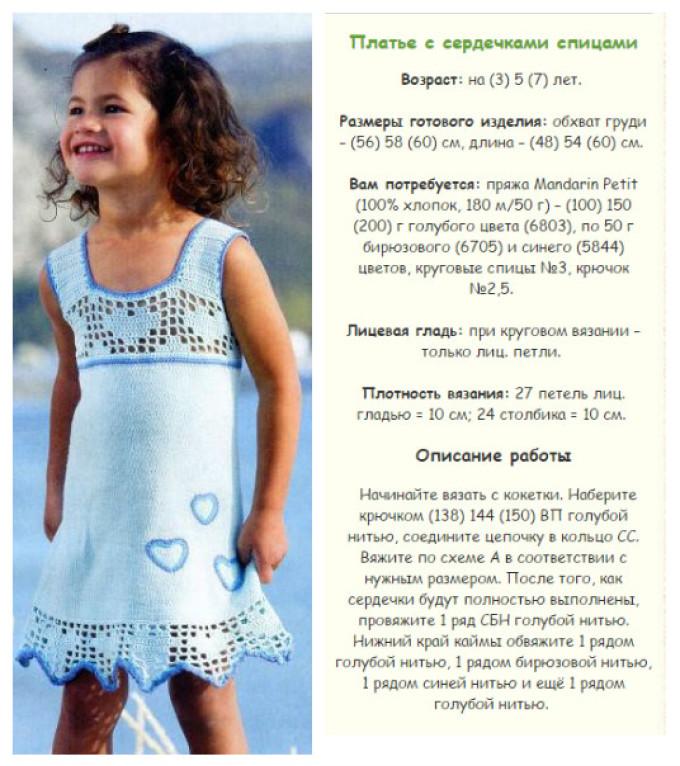 схема и описание вязания спицами летнего сарафана для девочки 4-5 лет, пример 2