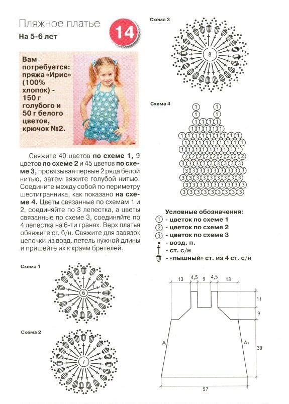 ажурный связанный крючком сарафан девочке 4-5 лет, пример 1