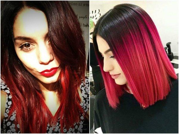 омбре красное на средние волосы