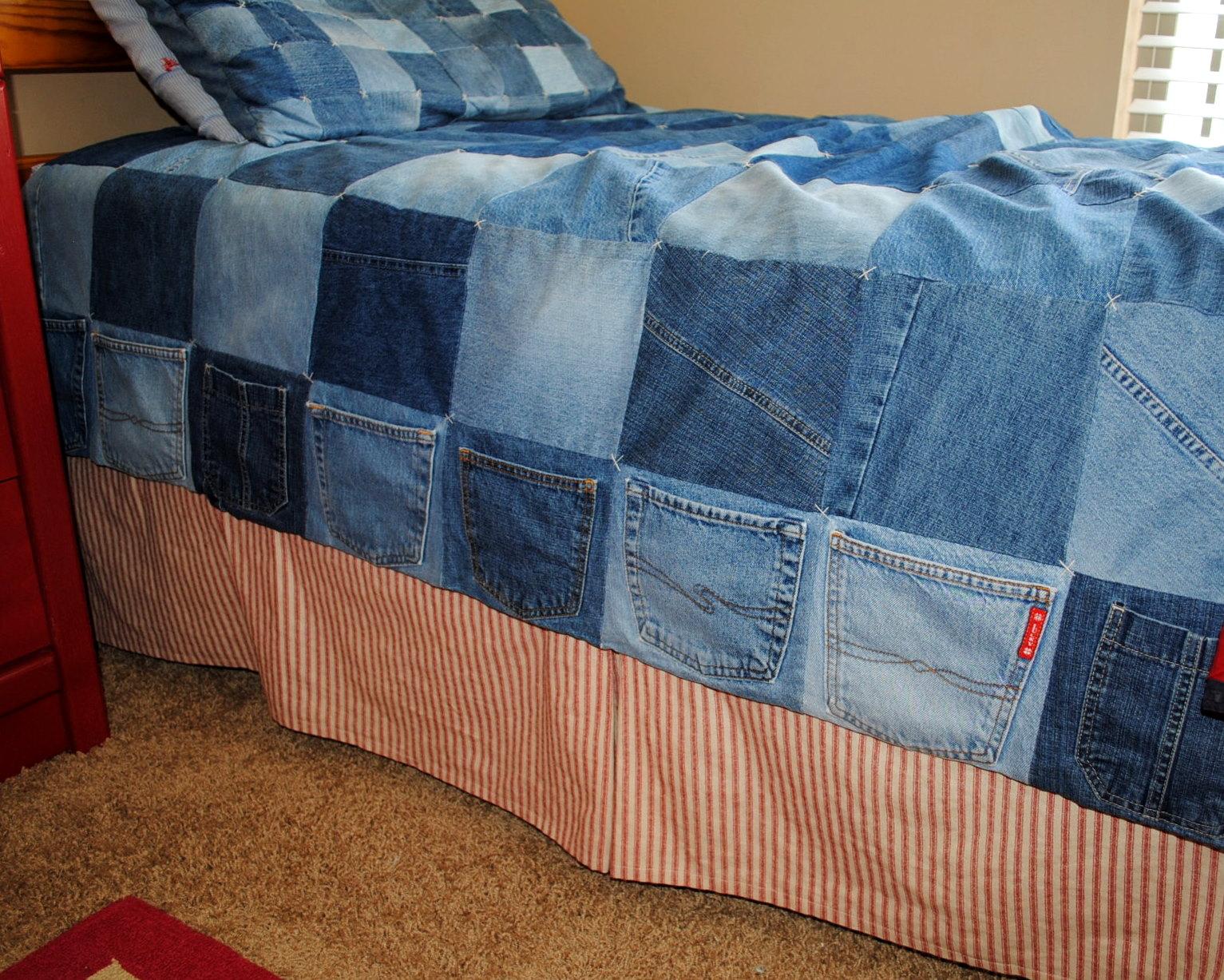 Плед из джинсовых лоскутков своими руками мастер класс