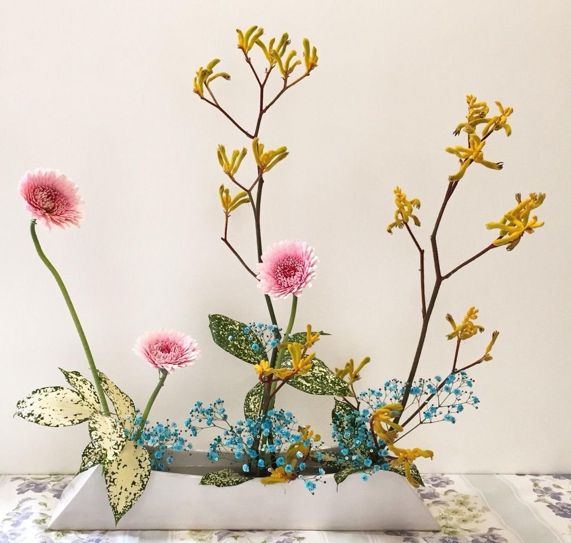 Экибана своими руками из живых цветов 14
