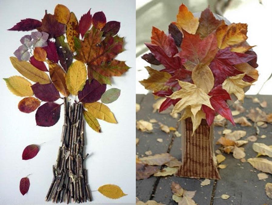 Экибана своими руками осень из листьев 10