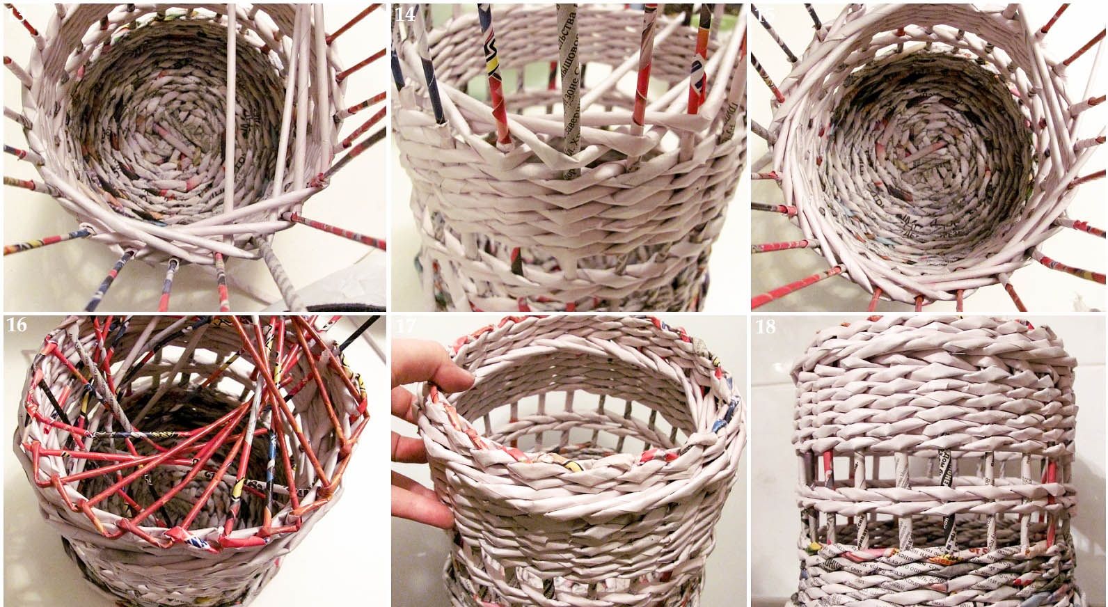 Схема плетения шкатулки из газетных трубочек