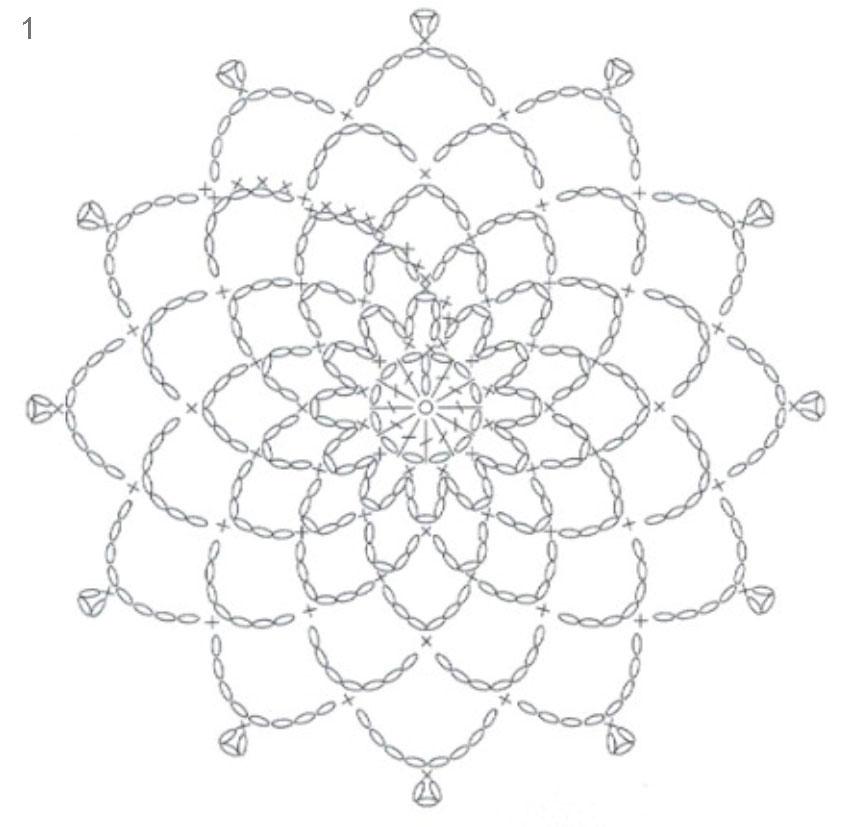 Схема вязания снежинки крючком и схемы к ним 7