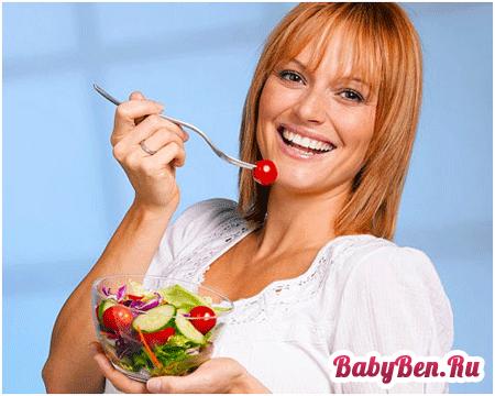 правильное питание при гв для похудения меню