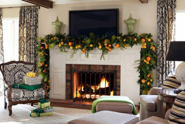 Прекрасное украшение комнаты к Новому году