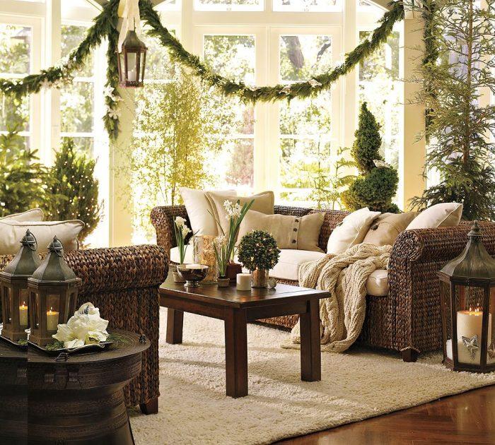 Стильное украшение комнаты к Новому году