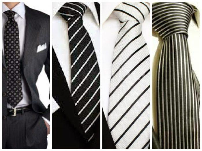 варианты полосатых галстуков под белую рубашку
