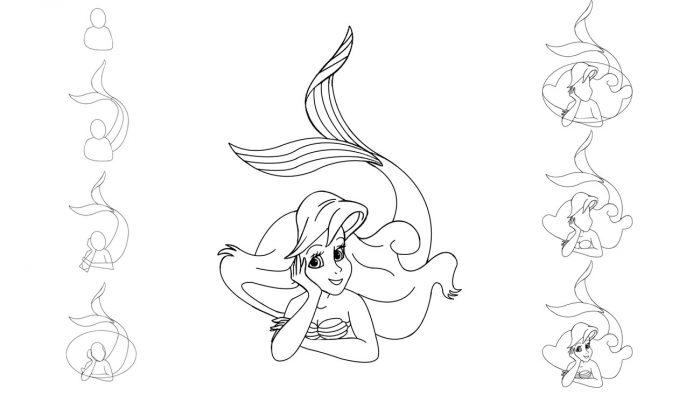 Простой рисунок русалочки Ариэль.