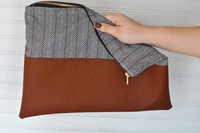 прямой клатч на молнии своими руками из старой сумки