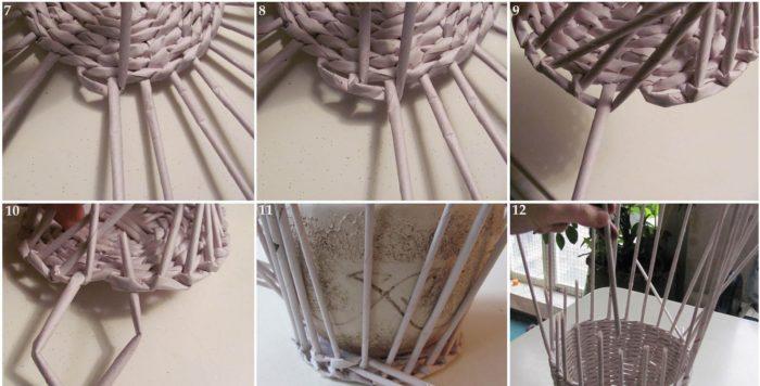 Схема плетения вазы из газетных трубочек