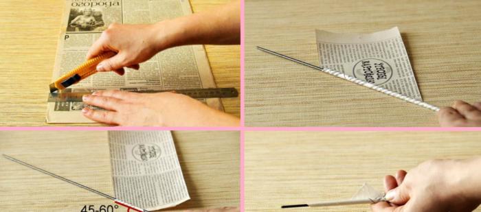 Материалы, необходимые для сворачивания трубочек из газет
