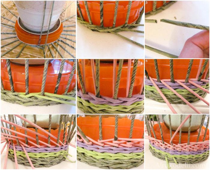 Несколько схем плетения округлых корзин из газетных трубочек