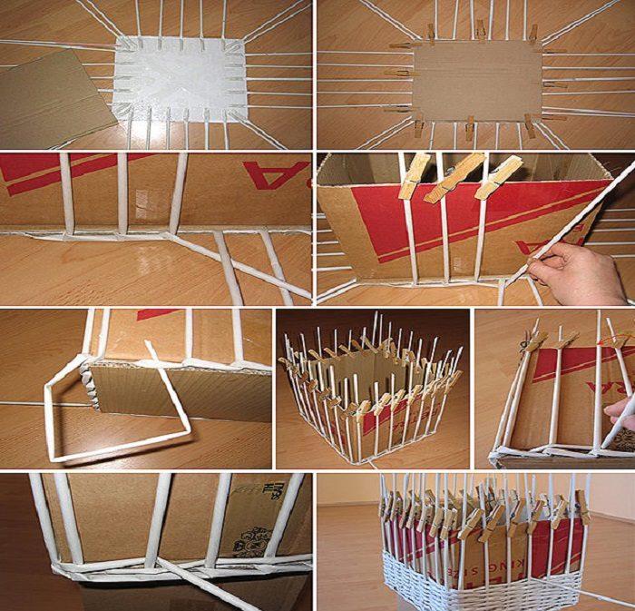 Схема плетения коробки из газетных трубочек