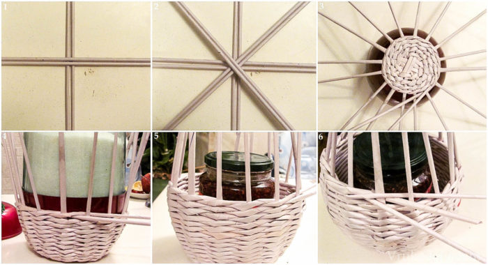 Схема плетения вазы из газетных трубочек 2