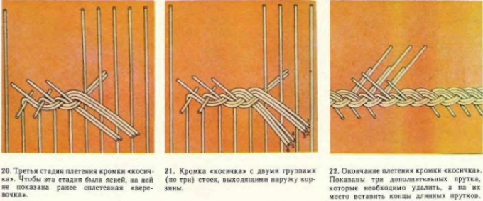 Схема плетения из газетных трубочек в технике объемный загиб