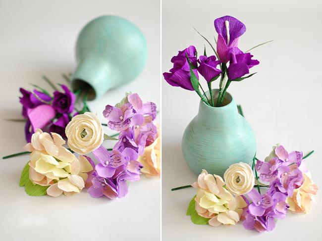Маленькие цветы из гофрированной бумаги своими руками фото 278