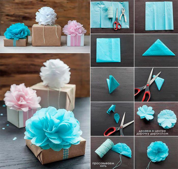 Пышный бант для украшения упаковки подарка