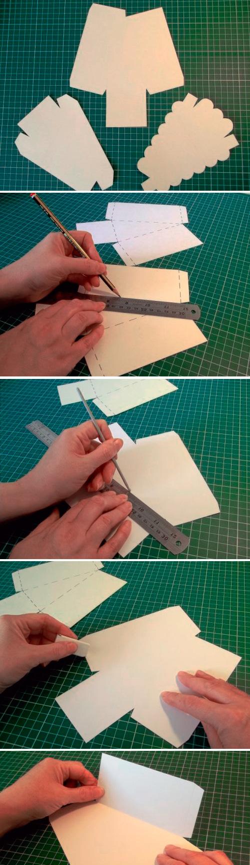 Переносим контуры шаблонов на бумагу и вырезаем заготовки