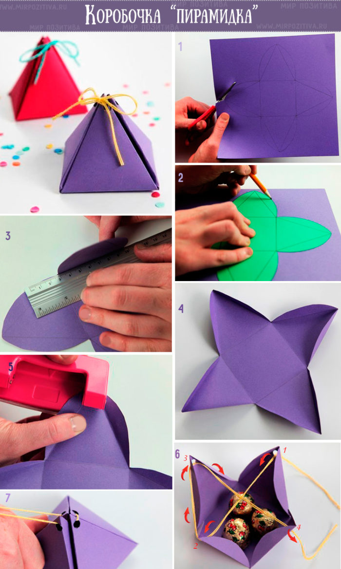 Схема сборки коробки-пирамидки