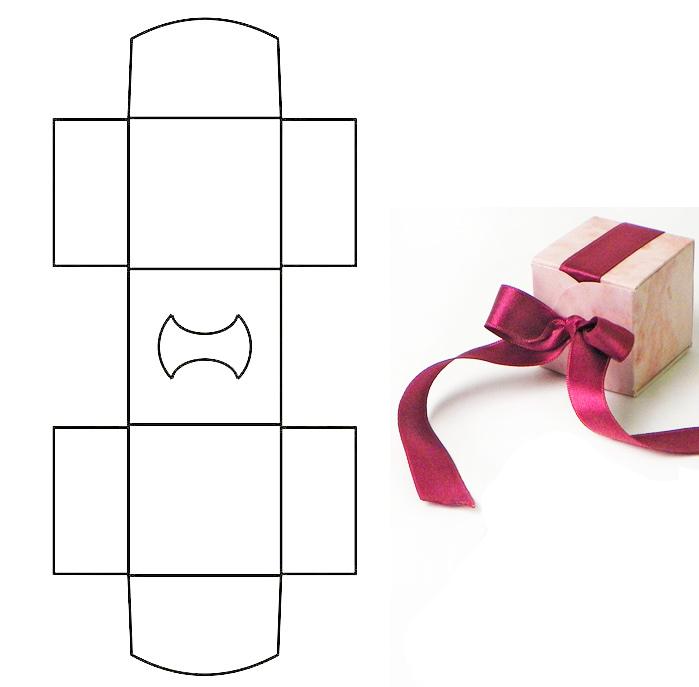 Шаблон простой маленькой коробочки для упаковки подарка